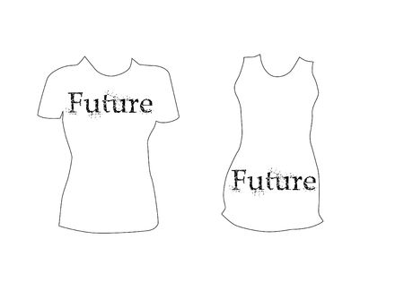 Womens t-shirt template with future text photo