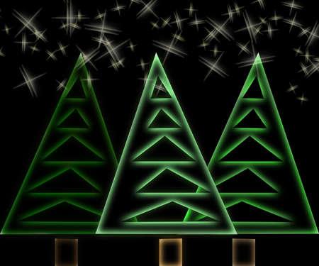 Abstract christmas trees and stars