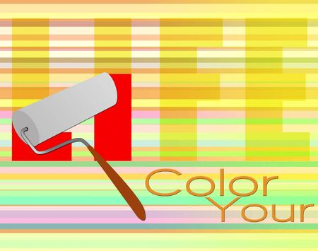 roller: Color your life poster with paint roller Stock Photo