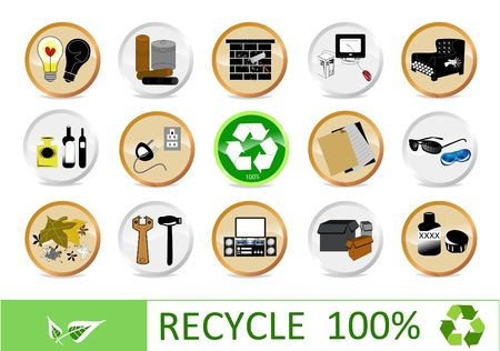 Recycling eco icons for your web page Banco de Imagens - 7055259