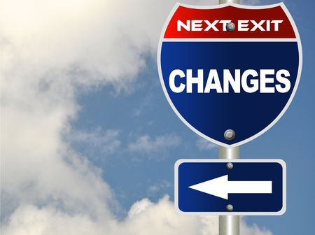 business change: Changes road sign