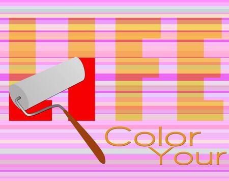 페인트 롤러로 삶의 포스터 색상 지정 스톡 콘텐츠