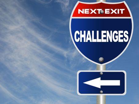 Challenges road sign  Banco de Imagens