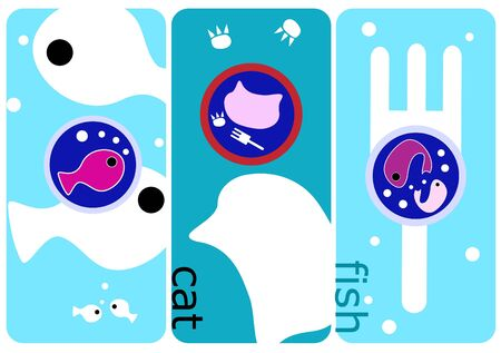 Abstract cute cat and fish illustration