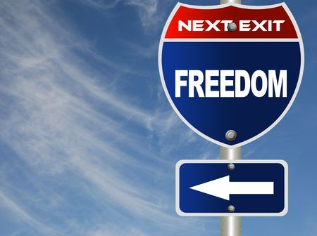 financial metaphor: Freedom road sign