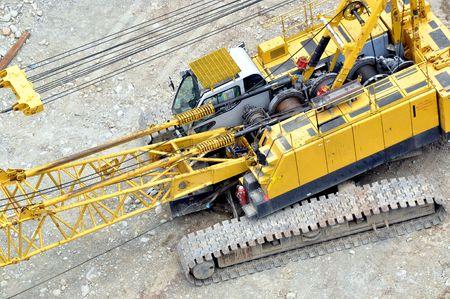 Yellow automobile crane Stock Photo