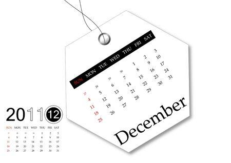 december: December of 2011 Calendar  Stock Photo