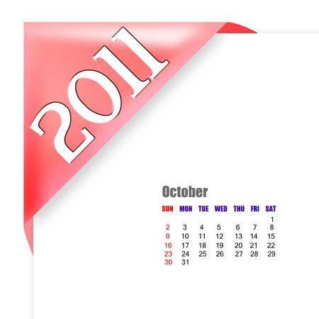scheduler: October of 2011 calendar  Stock Photo