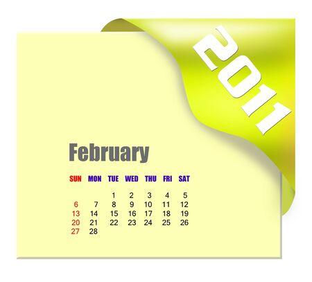 scheduler: February of 2011 calendar  Stock Photo