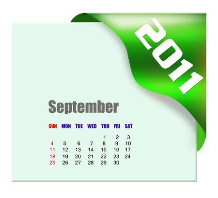 September of 2011 calendar  Stock Photo