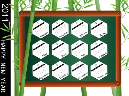 2011 Calendar with bamboo background photo