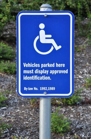 disable: Disable parking sign  Stock Photo