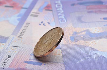 Close up Canadian Dollars background photo