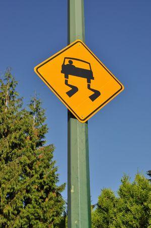 Slippery road sign Stock Photo - 7947453