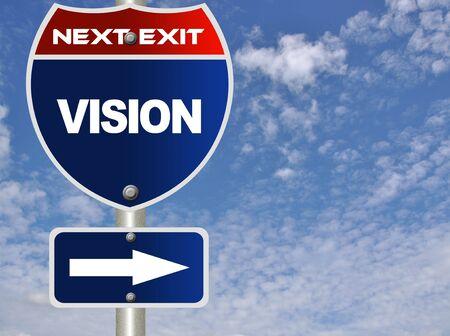 actitud positiva: Signo de la carretera de visi�n