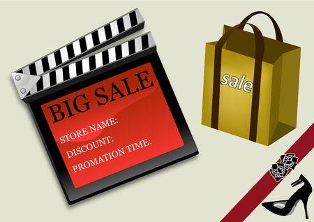 flick: Big sale film slate poster  Stock Photo