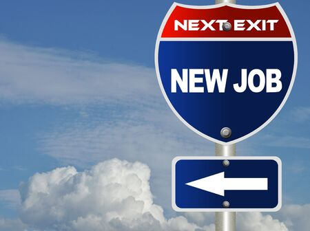 positivity: New job road sign  Stock Photo