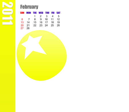February of 2011 Calendar  Stock Photo