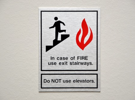 In case of fire, please use stairway photo