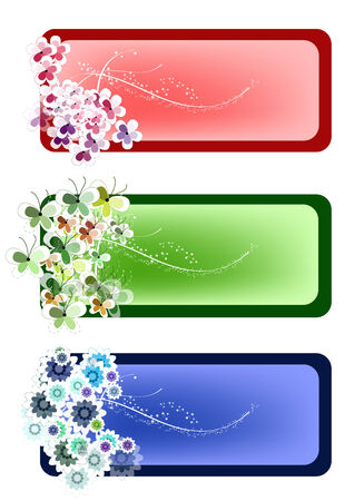 grunge: Nature flowers poster card  Illustration