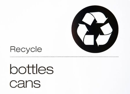 Recycle bottles and cans sign