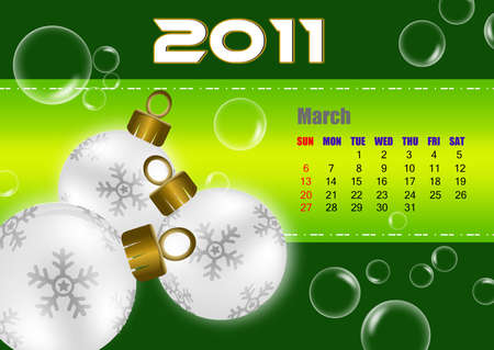 March of 2011 calendar  Stock Photo