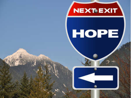 brighter: Hope road sign