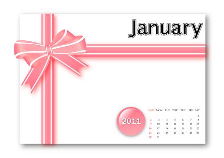 calendar: January of 2011 calendar