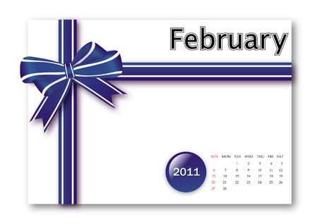 calendar: February of 2011 calendar  Illustration