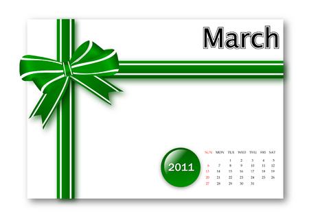 calendar: March of 2011 calendar  Illustration
