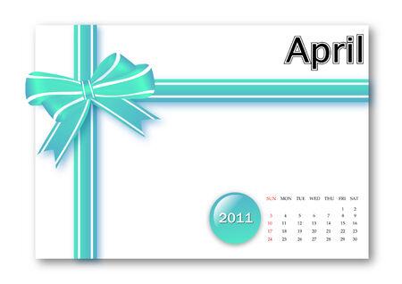 calendar: April of 2011 calendar