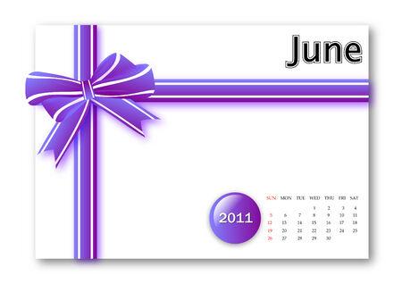 June of 2011 calendar  Vector