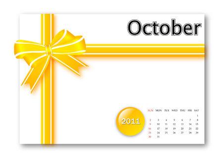 calendar: October of 2011 calendar  Illustration