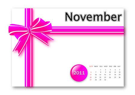 calendar: November of 2011 calendar