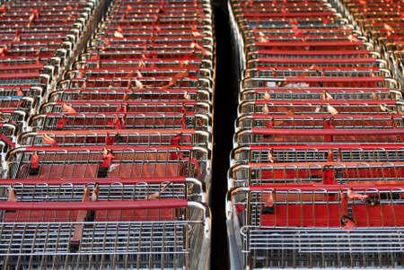 Close up shopping cart outside mall Stock Photo