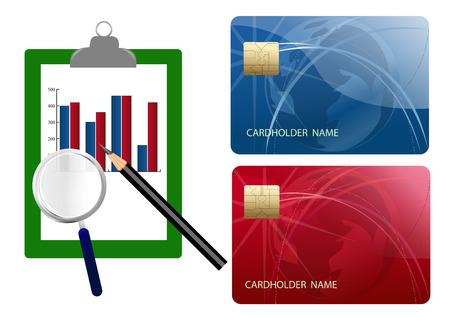 Vergelijk credit cards kosten  Stock Illustratie