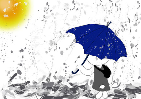 Rabbit find the way to home in raining day  Vector