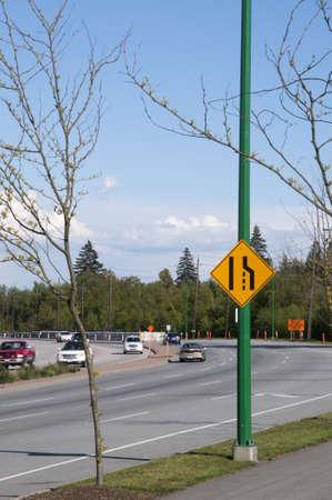 Road narrow sign Stock Photo - 8871231