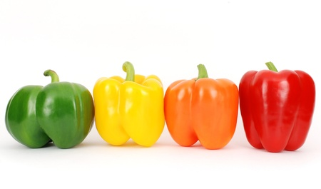 vegetables supermarket: Colorful fresh pepper in a line