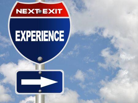 Experience road sign  Archivio Fotografico