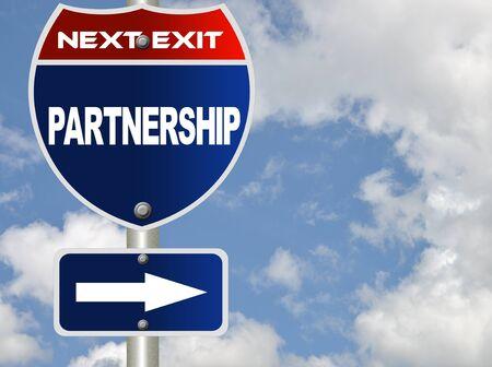 Partnership road sign  Stock Photo