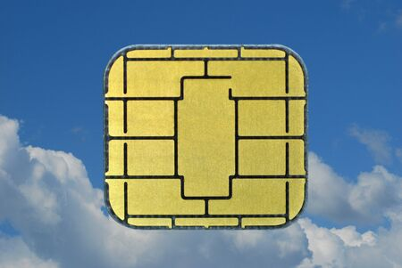 New chip card against blue sky  photo