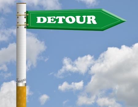 detour: Detour cigarette road sign  Stock Photo