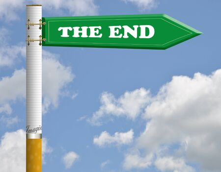 The end cigarette road sign  photo