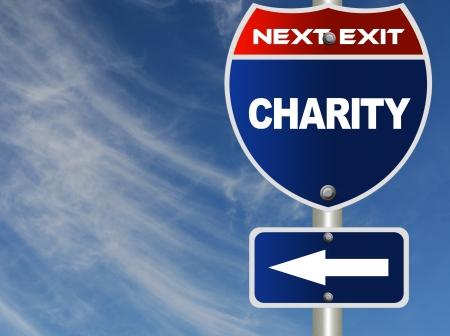 Charity road sign  Archivio Fotografico
