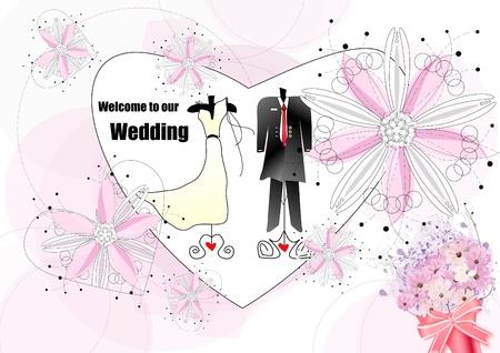 wedding dress: Abstract wedding invitation card  Illustration