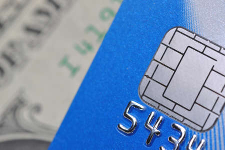 Macro chip card with us dollar background  photo