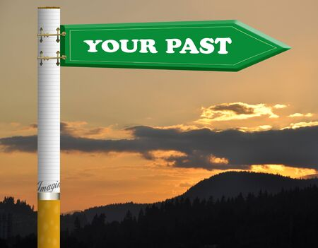 Your past cigarette road sign photo