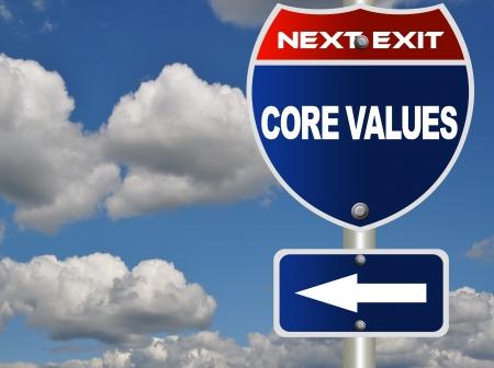 Core values road sign Archivio Fotografico