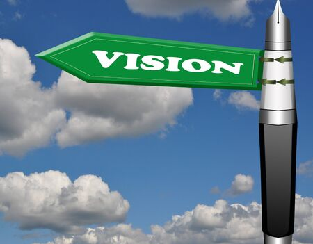 Vision fountain pen road sign photo